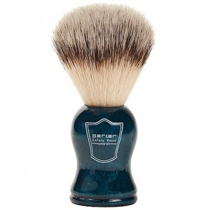 Parker Safety Razor SYNTHETIC Bristle Shaving Brush with Blue Wood Handle & Free Stand