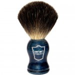 Parker Safety Razor 100% Black Badger Bristle Shaving Brush with Blue Wood Handle & Free Stand