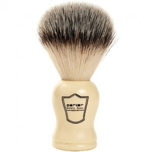 Parker Safety Razor SYNTHETIC Bristle Shaving Brush with White handle and Free Stand