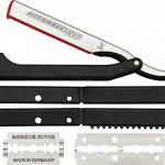Dovo Shavette Straight Razor Folding Knife,Stainless Blade, Black Plastic Handle 201 081