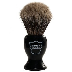 Parker Safety Razor 100% Pure Badger Bristle Shaving Brush with Black Handle & Free Brush Stand