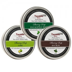 Taconic Shave Barbershop Quality 3 Shaving Soap Variety Pack - with Antioxidant-Rich Hemp Seed Oil - Made in New York's Hudson Valley